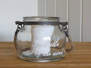 Small Candle in The Wind Jar