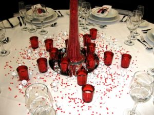 Red Glass Tea-Light Candle Holders