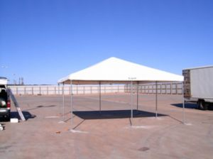 5x5 Clipframe Marquee Bolted on Concrete